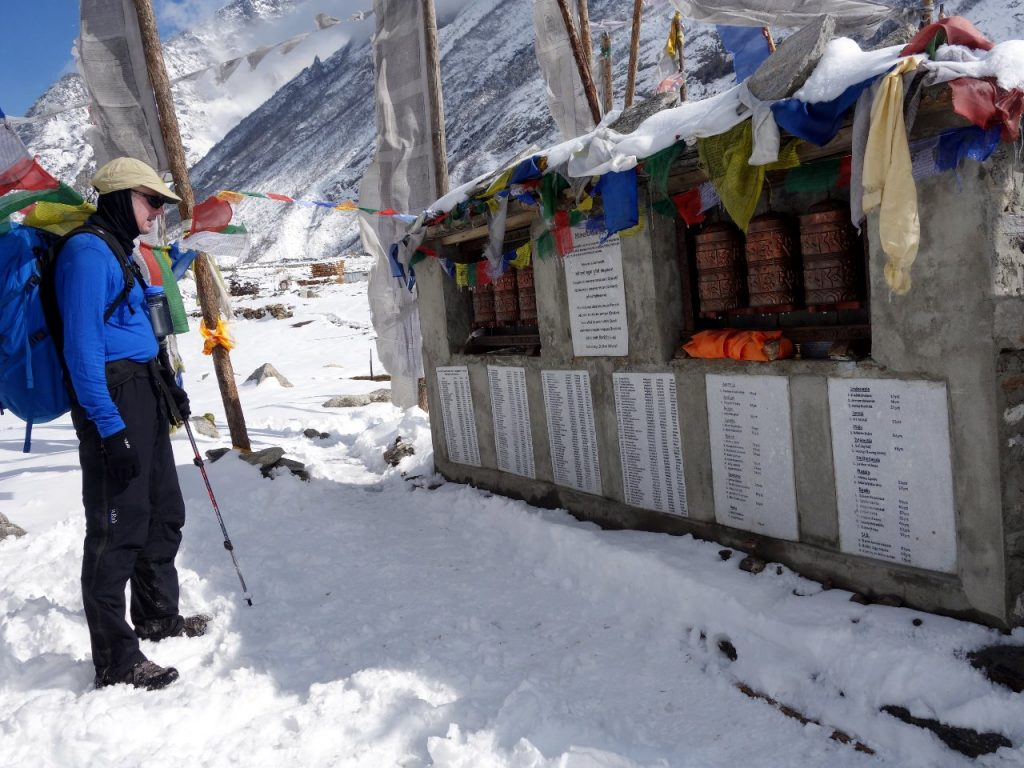 The memorial mani wall to those who died in the Nepal earthquake at Langtang