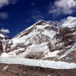 Looking down on Everest Base Camp (left), with the Khumbu Icefall spilling down between the West Shoulder and Nuptse