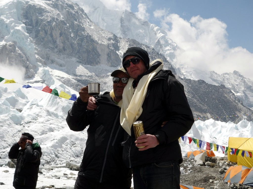 Dorje Sherpa and Phil Crampton at the Altitude Junkies base camp puja