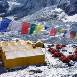 Junkies dining and sleeping tents, with the Khumbu Icefall behind