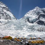 The Khumbu Icefall from Everest Base Camp. Nuptse is the mountain on the right, and the north face is its left-hand skyline.