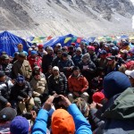 A delegation from the Ministry arrives at Base Camp and prepares to make speeches
