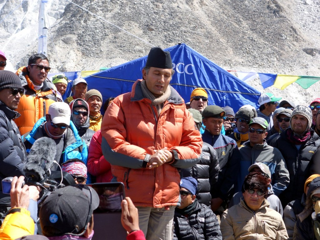 Ramesh Dhamala, president of the Trekking Agencies' Association of Nepal (TAAN), speaks at Everest Base Camp