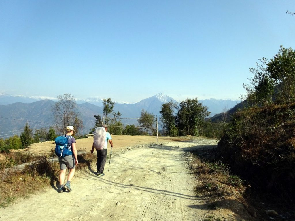There was plenty of road walking on the first day, as we dropped over 1,000m from Suketar to Chiruwa