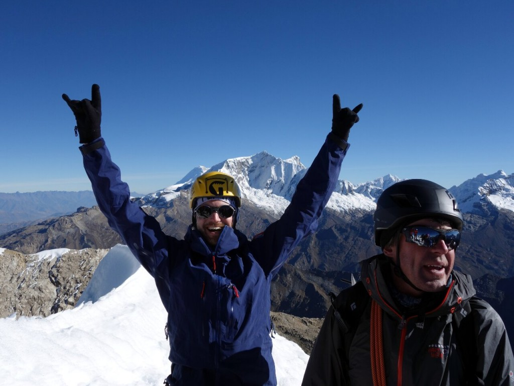 Ryan and Phil on the summit of Urus Este with Copa behind