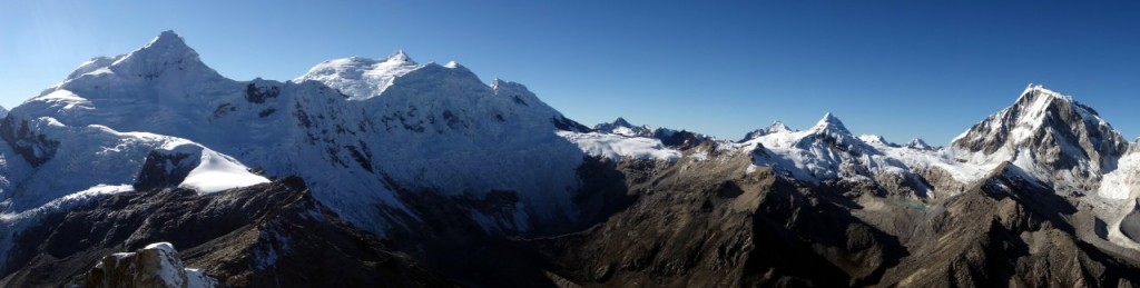 Panorama of Tocllaraju (6034m), Palcaraju (6274m), Ishinca (5530m) and Ranrapalca (6162m) from Urus Este