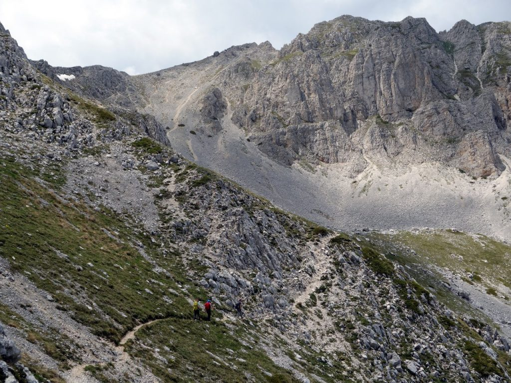 On grass and scree beneath Monte Sirente's summit cliffs