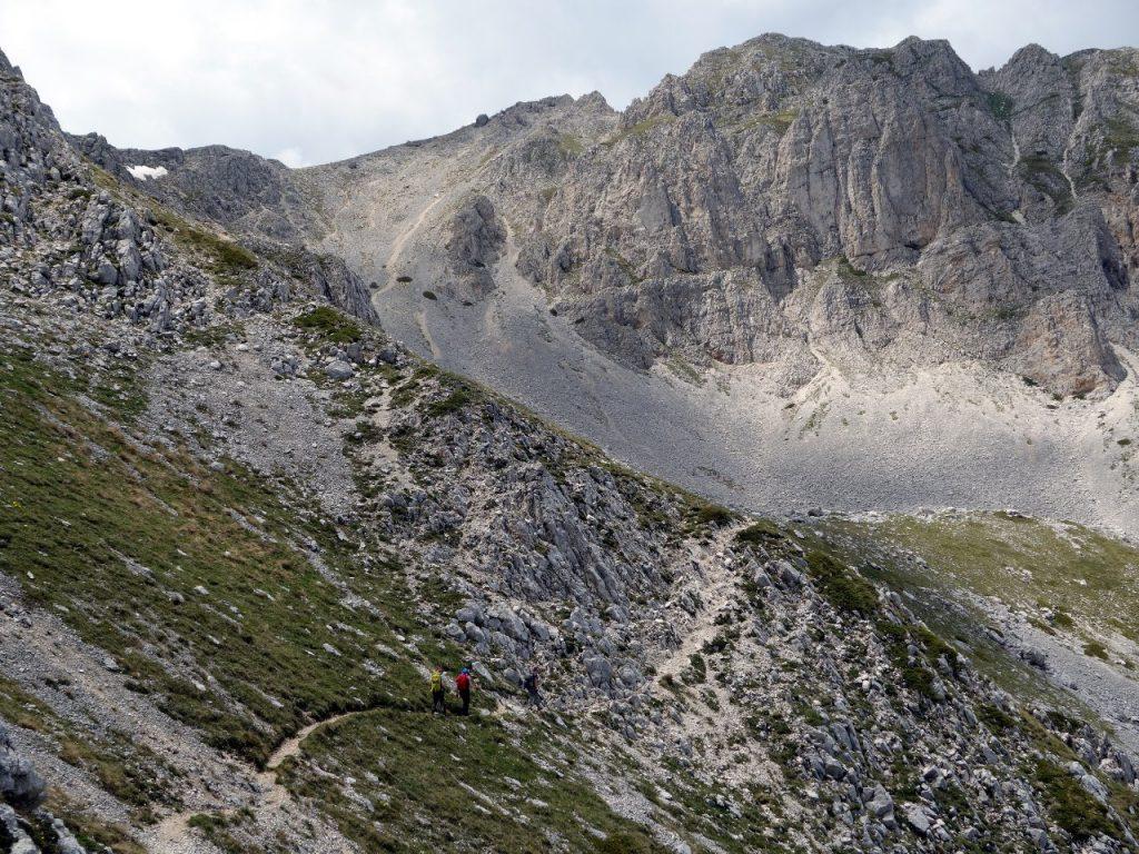 On grass and scree beneath Monte Sirente's summit cliffs