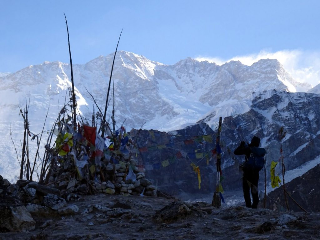 The four summits of Kangchenjunga from the shrine at Oktang
