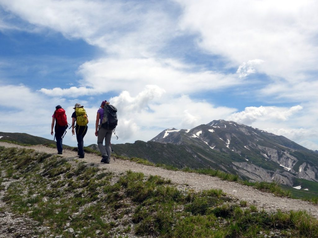 On the trail from Campo Imperatore, with Monte Brancastello in the distance