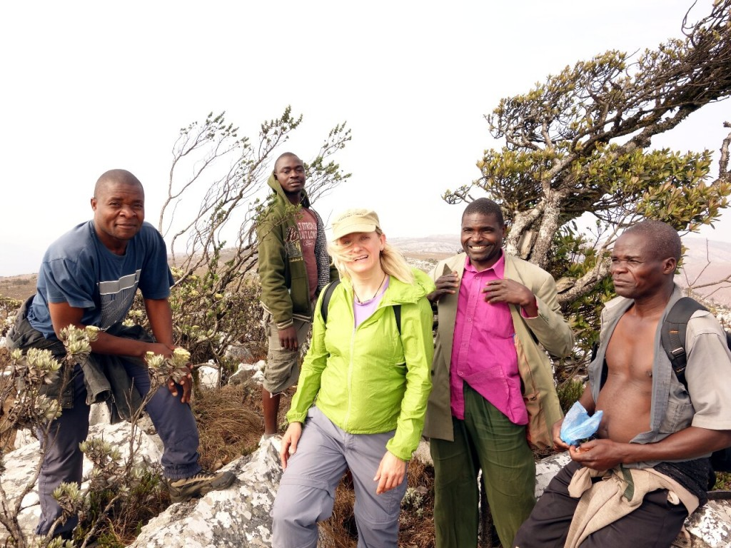 Edita on the summit of Mafinga South, with Steve (driver), Andrew (policeman), Kennedy (forester) and Alistair (guide)