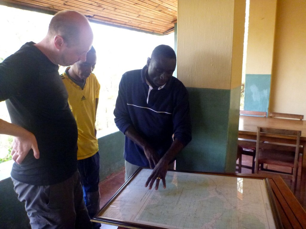 Moses and George show me exactly where on Mulanje I'm most likely to encounter flying serpents (Photo: Edita Nichols)