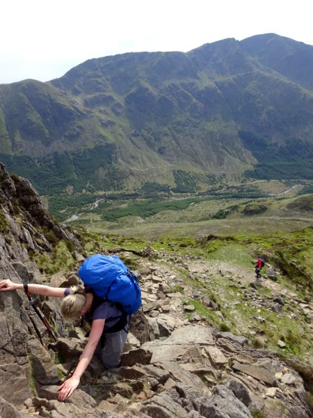 Scrambling up Haystacks, with Pillar across the valley