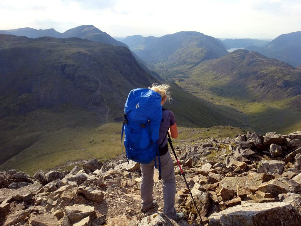 Descending to Beck Head from Great Gable, with Ennerdale below