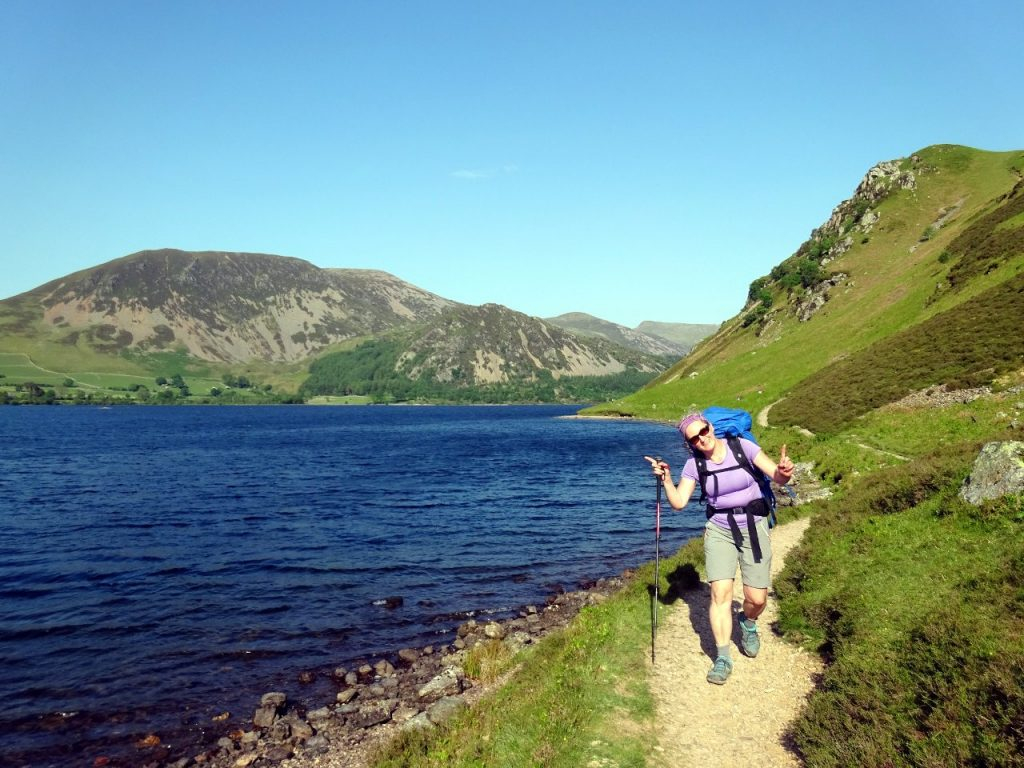 Yay! Edita nears the end of Ennerdale Water, and the end of the trek.