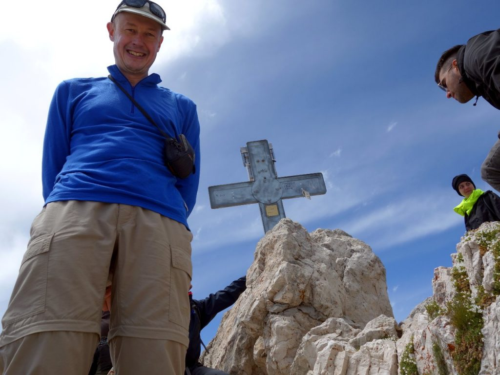 Waiting for a summit photo amid the crowds on the summit of Corno Grande, the highest point in the Apennines