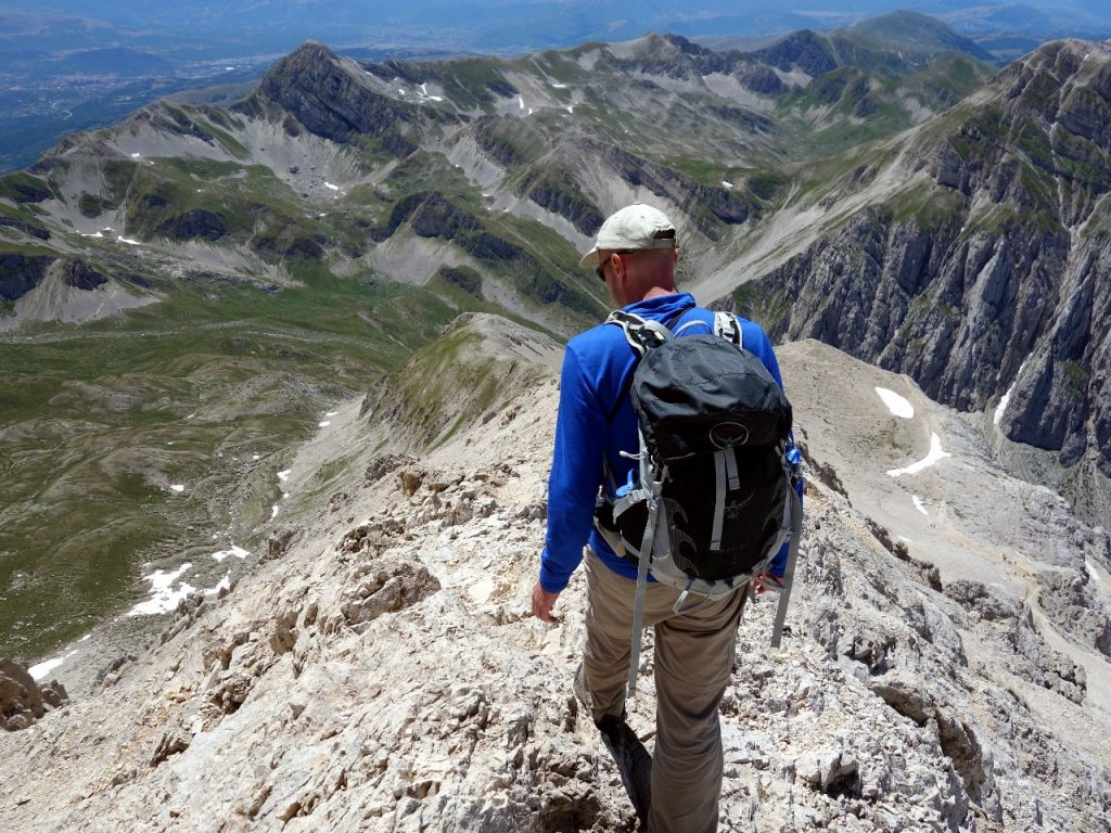 At the top of the west ridge, about to descend