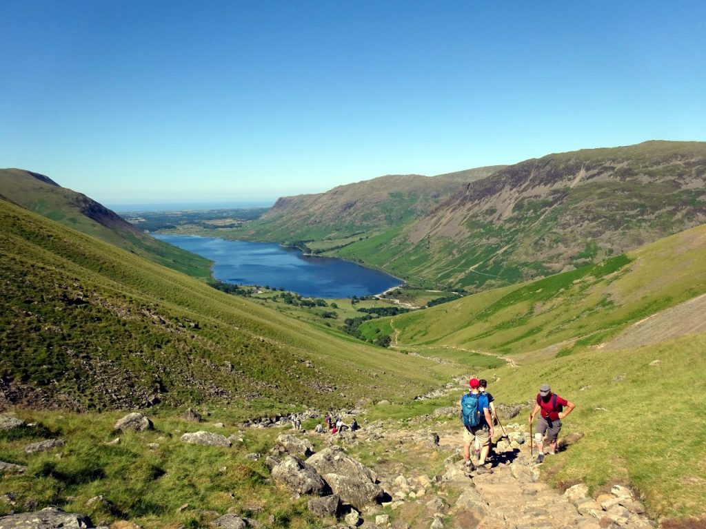 Hikers on the trail above Lingmell Gill, with Wast Water down below