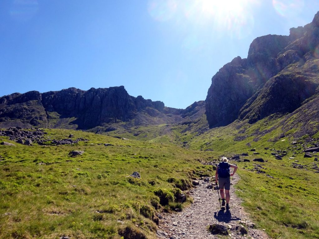 Approaching the cleft between Scafell Pike and Sca Fell