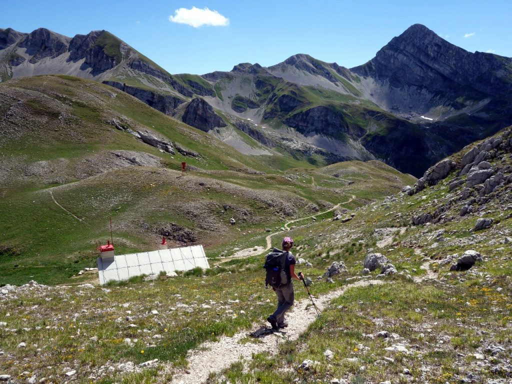 Descending to Rifugio Garibaldi, with Pizzo Cefalone up ahead