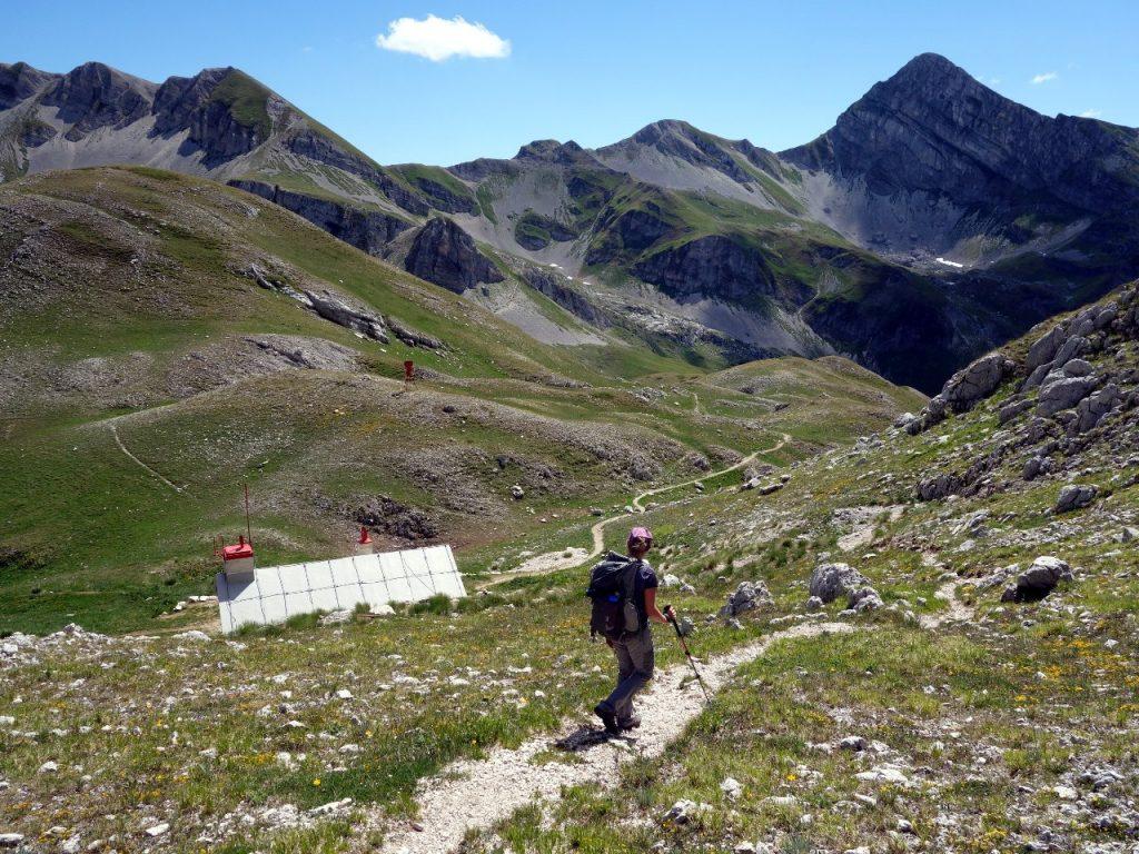 Descending to Rifugio Garibaldi, with Pizzo Cefalone up ahead
