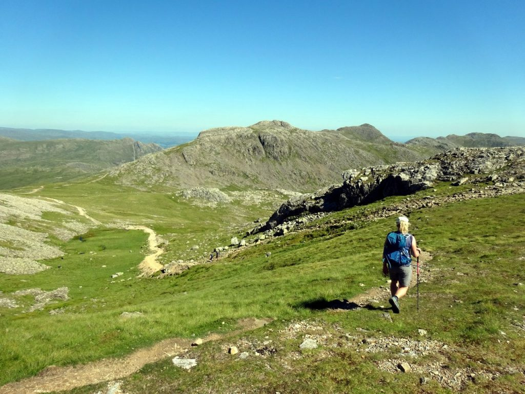 Descending to Esk Hause, with Esk Pike up ahead