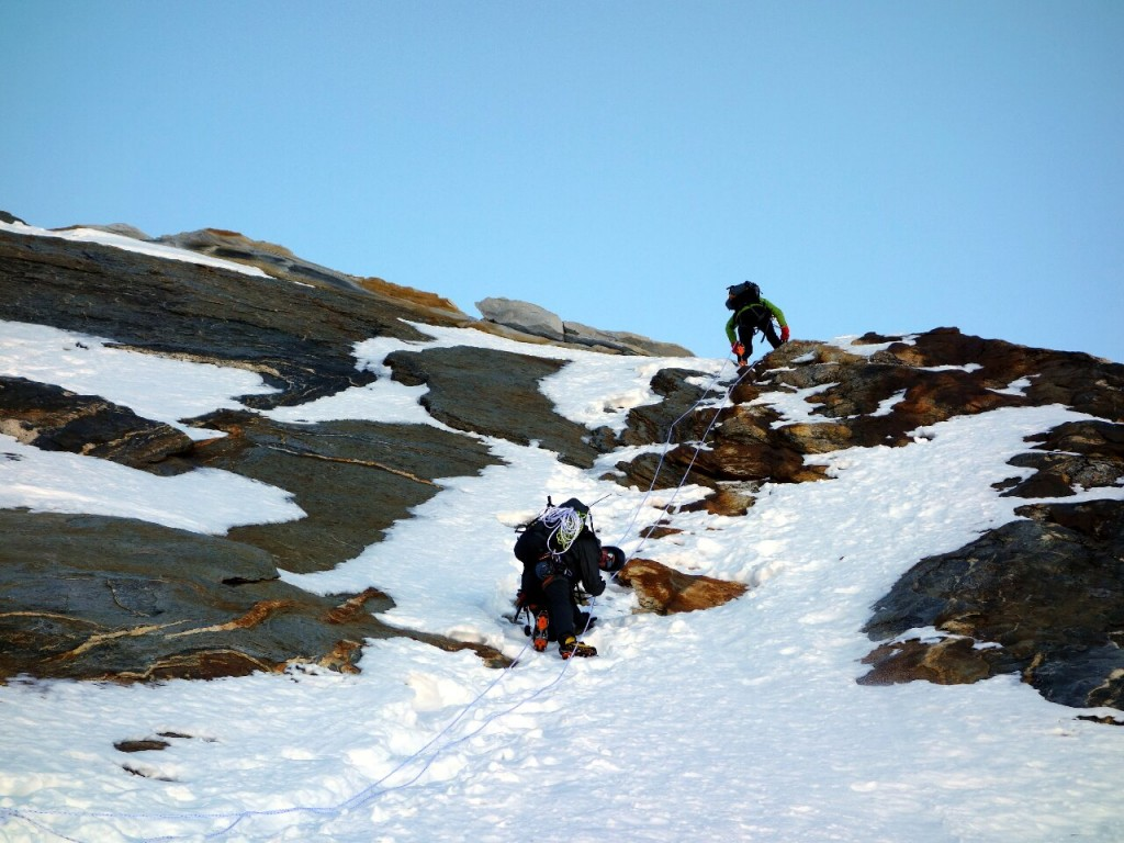 On the rock slab above Camp 1