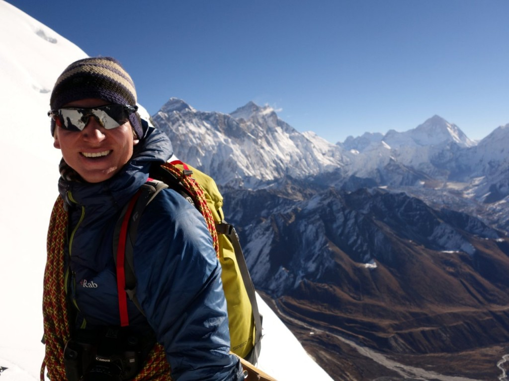 Samuli Mansikka (1978 - 2015) on Cholatse with three of his 8000m peaks - Everest, Lhotse and Makalu - behind him