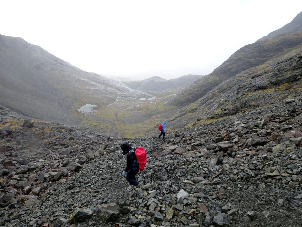 Retreating from Sgurr nan Gillean in a gathering storm