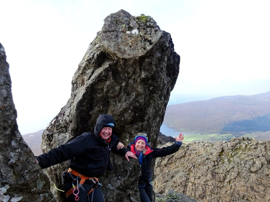 Me and Edita beneath the Bolster Stone at the top of the In Pinn