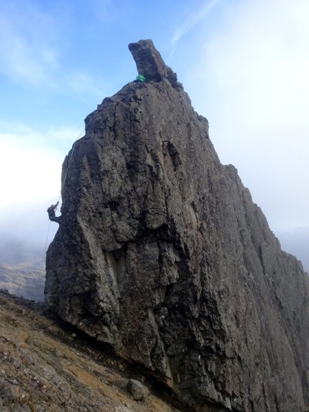 Abseiling down the In Pinn