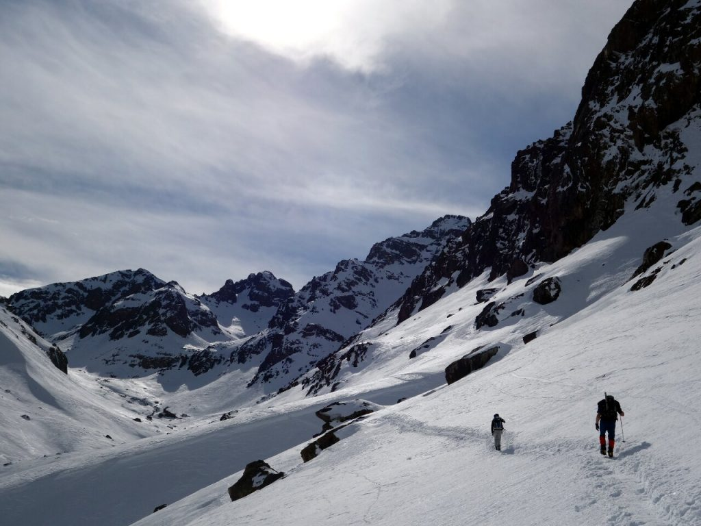 Approaching Toubkal Refuge in winter. Contrast this with the photo at the top of the page.