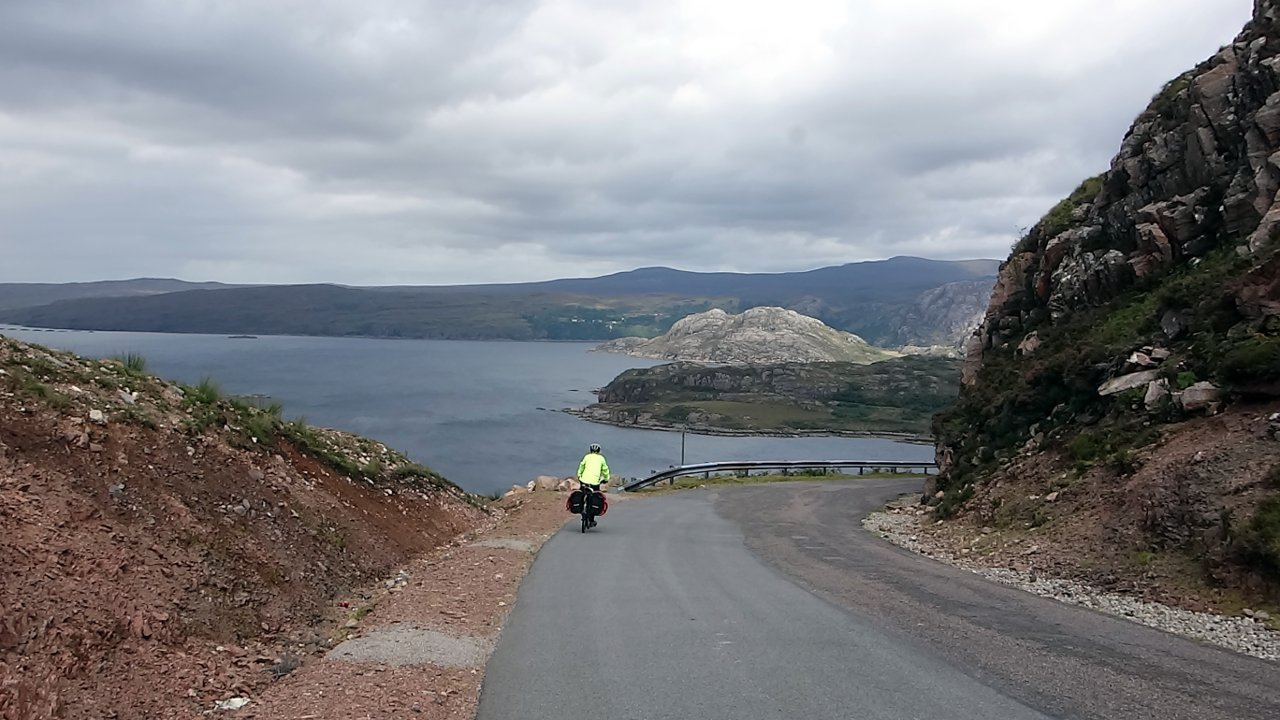 One particular downhill section clung to the side of a cliff, with crash barriers to stop vehicles tumbling into Loch Torridon