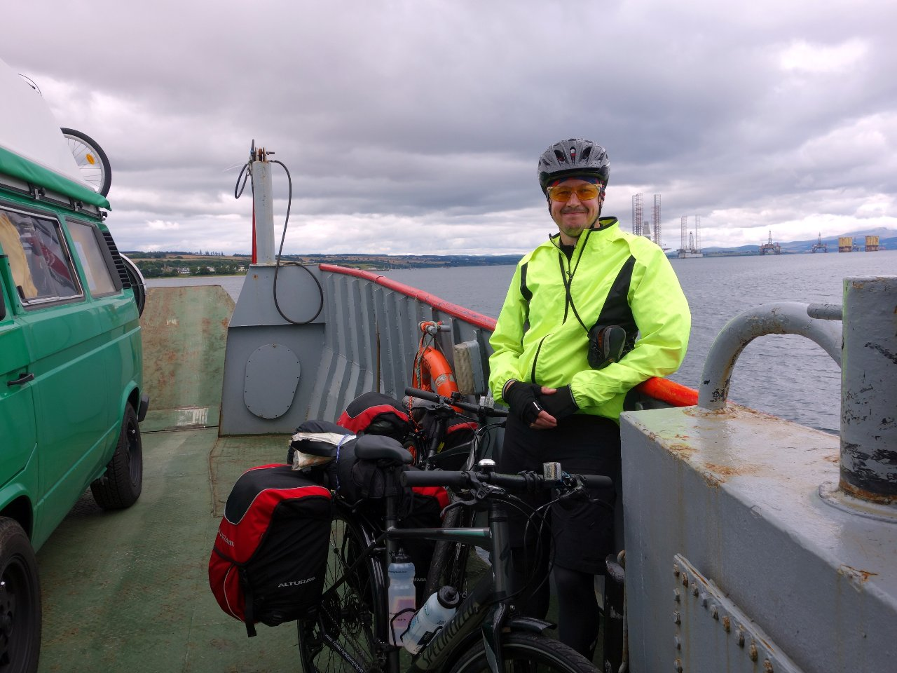 The Nigg to Cromarty ferry had just enough space for me and a camper van