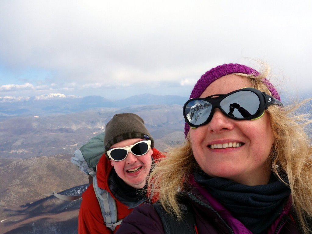 Selfie of me and Edita high up on Monte Sirente. As you can see, she looks absolutely fine while I look exhausted (Photo: Edita Nichols).