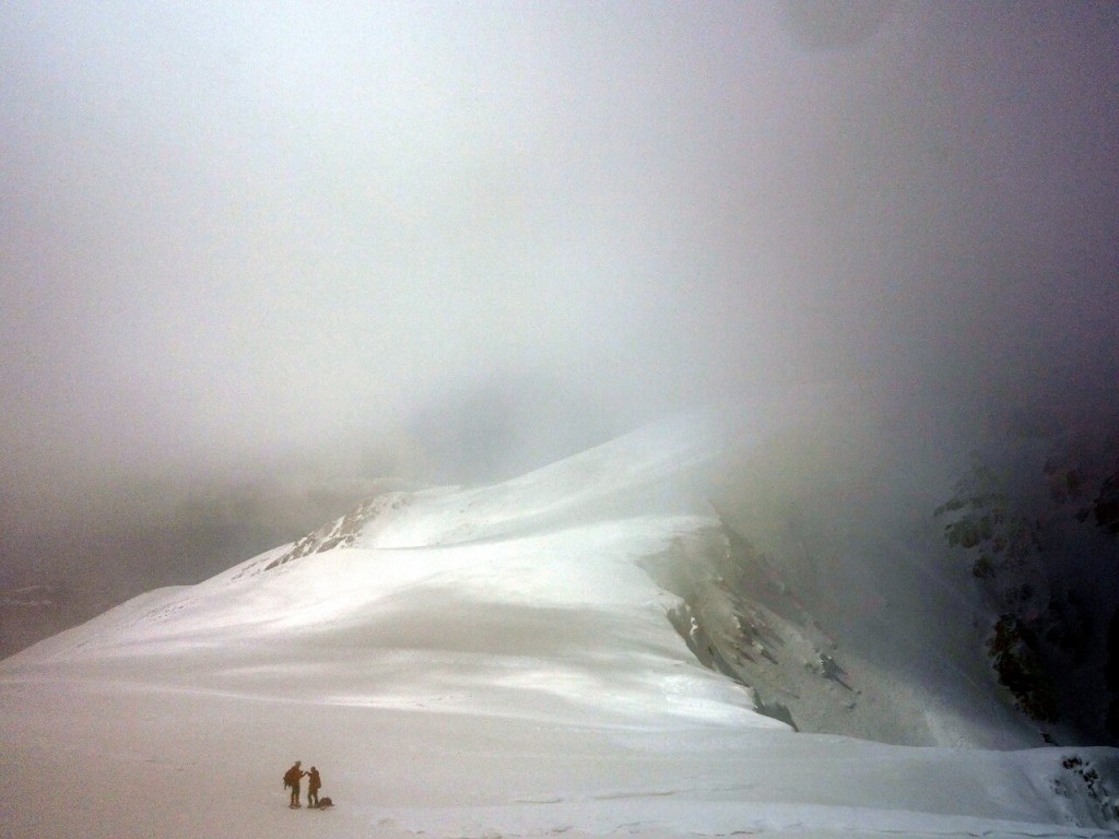 Deep in cloud on Monte Sirente's summit ridge