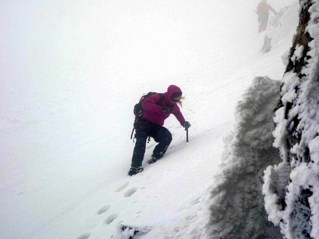 Edita descending from the summit ridge