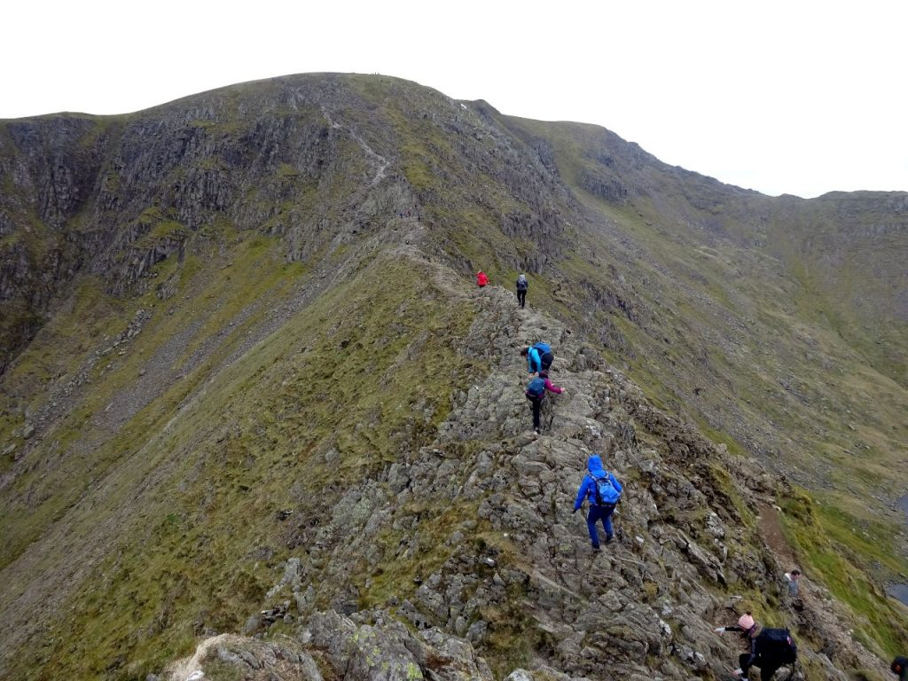 Scrambling along the crest of Striding Edge