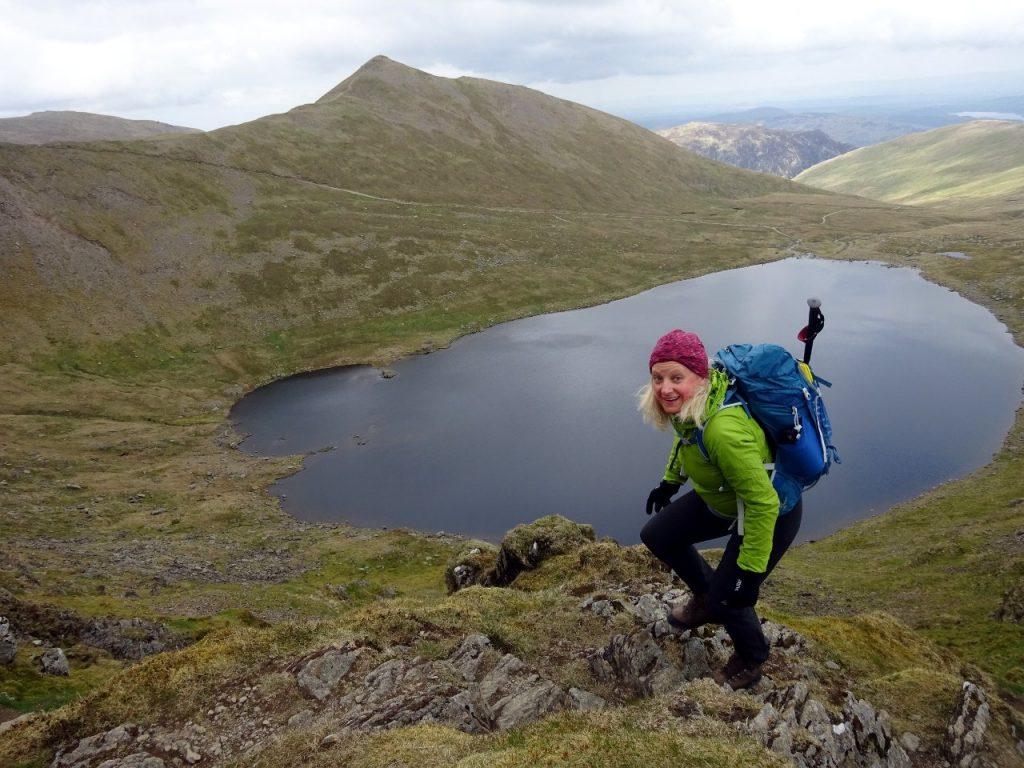Edita on Striding Edge, with Red Tarn and Catstye Cam behind