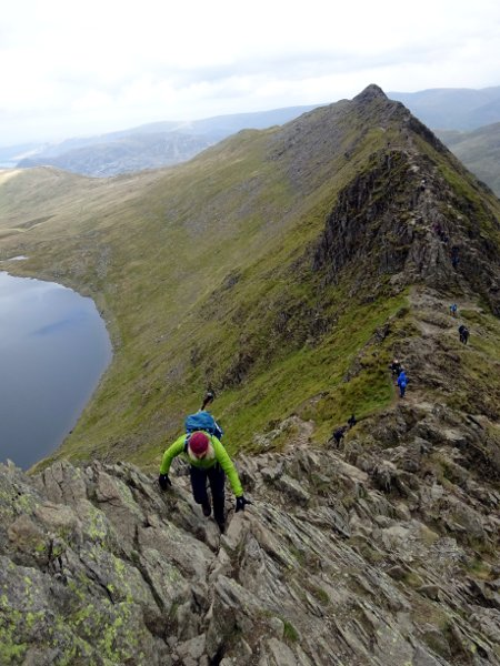 Scrambling up slabs to the summit of Helvellyn