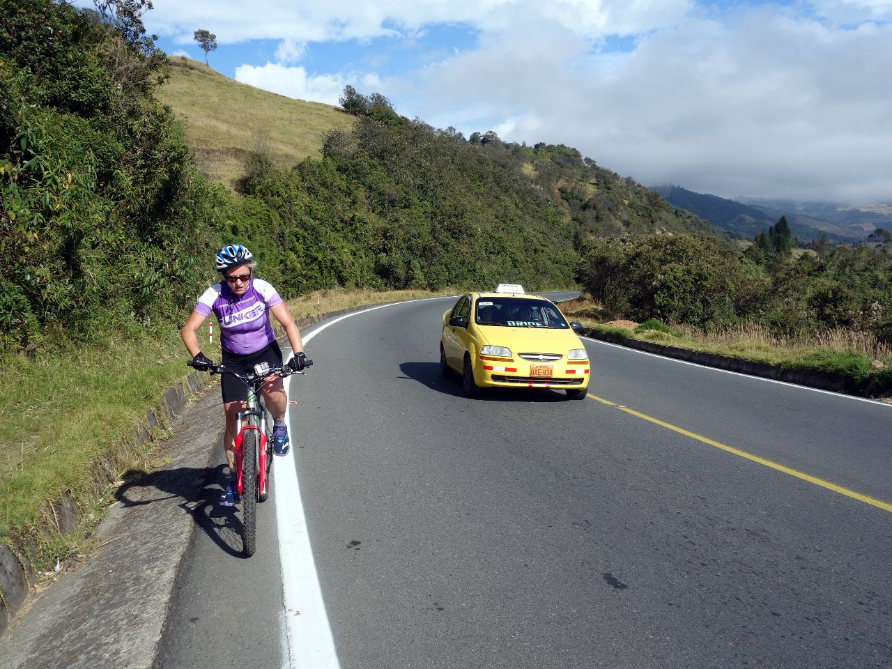Edita wrestles with her gears on the road to Guaranda