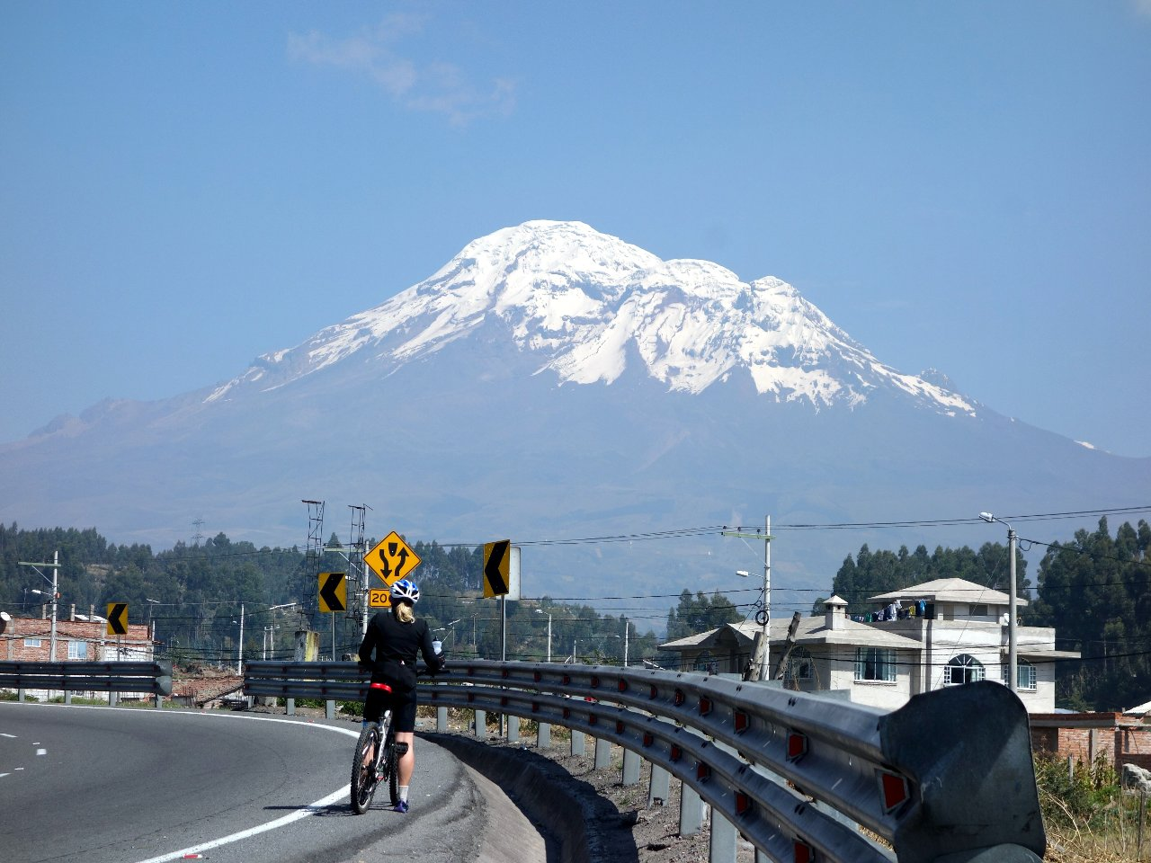 The distinctive three summits of Chimborazo, seen from the Pan American Highway near Riobamba