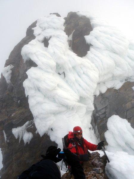 Marco beneath the summit ice cauliflowers