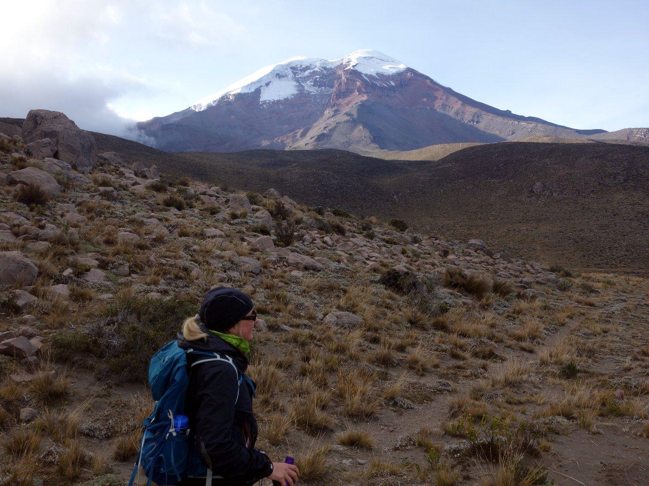 Edita gazes up at Chimborazo during the traverse between Mechahuasca and Carrel Huts