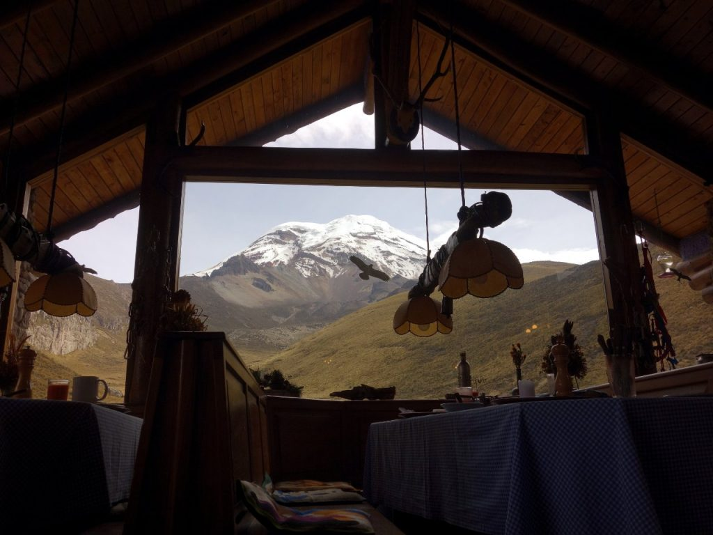 Chimborazo from the dining room of the Marco Cruz Lodge