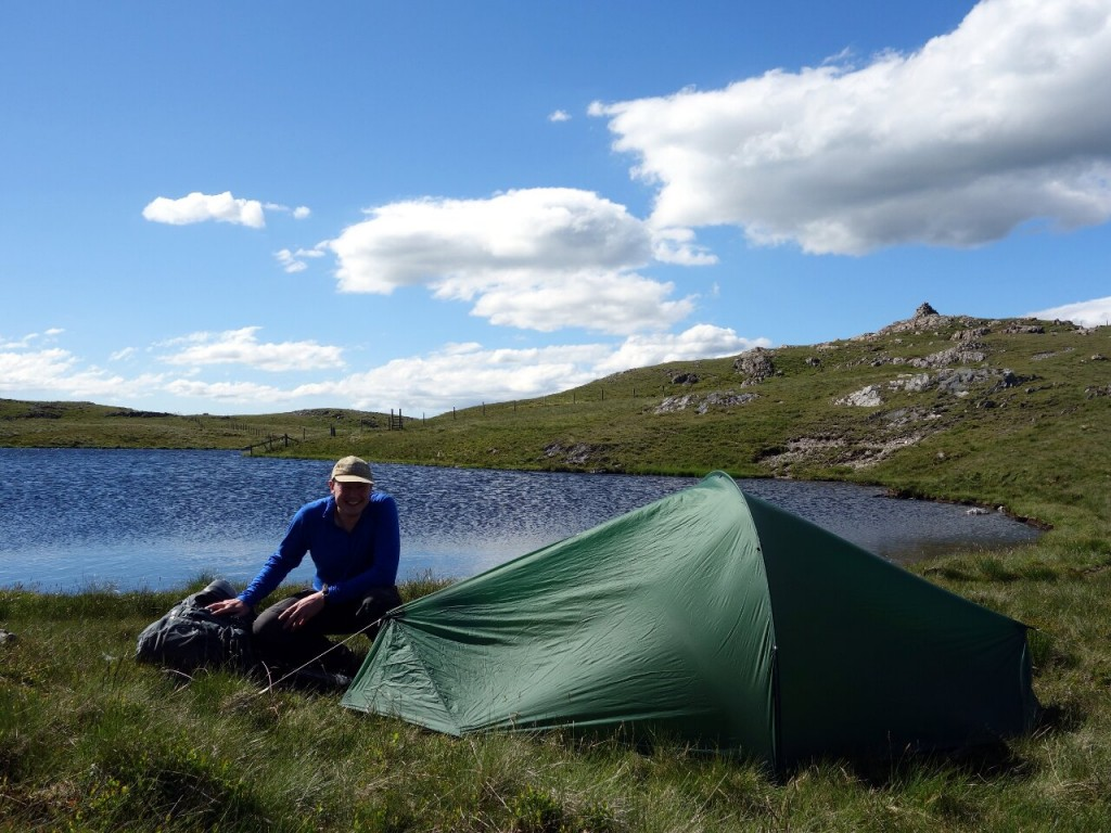 A lovely wild camping spot just below the summit of Glasgwm