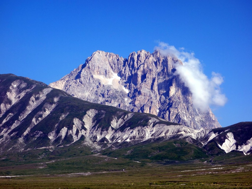Corno Grande is easily the most eye-catching peak for miles around, a striking tower of rock, rising hundreds of metres