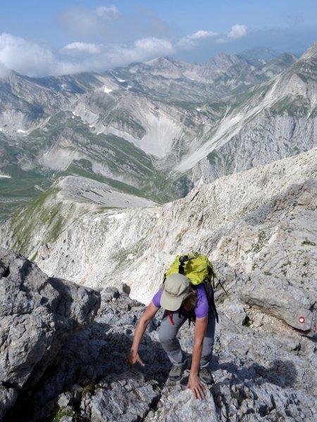 Scrambling up the west ridge of Corno Grande