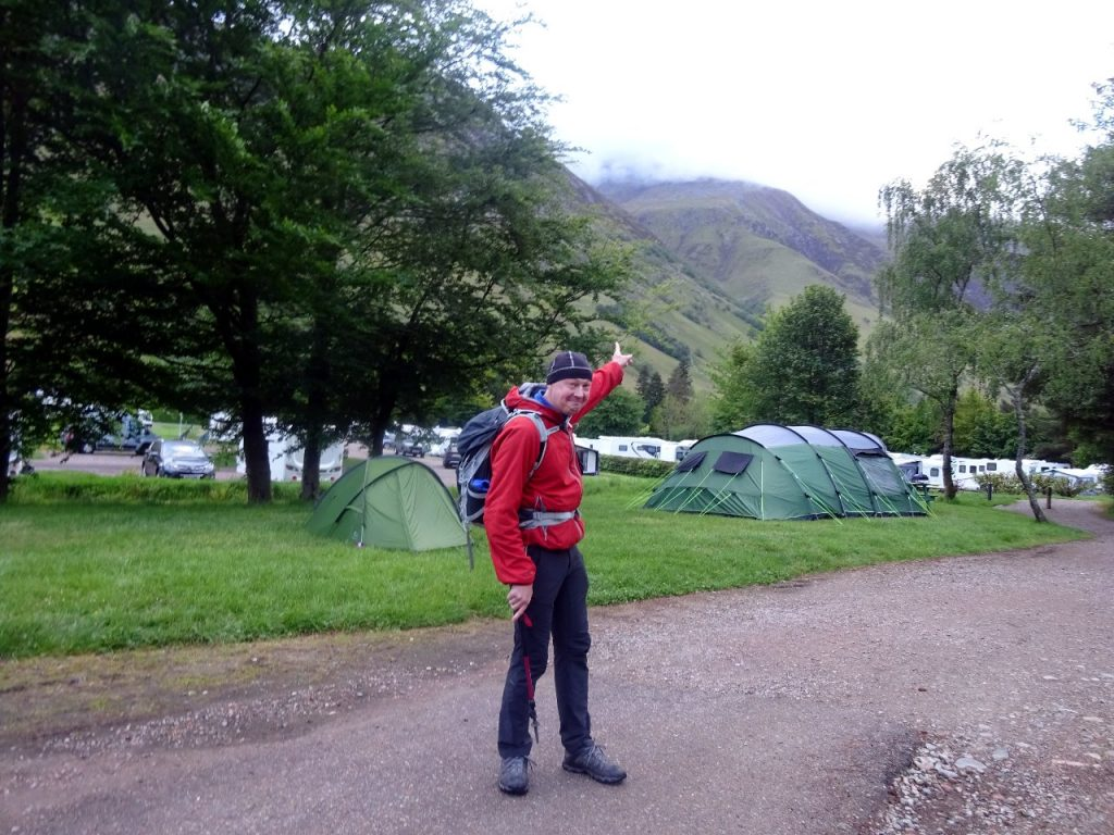 Ben Nevis, somewhere up there in the cloud, from Glen Nevis campsite
