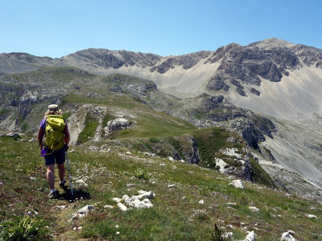 Trekking towards Monte Velino on a pleasantly green ridge